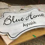 Blue Home Cıft taraflı Ferforje Ahsap Fener Tabela