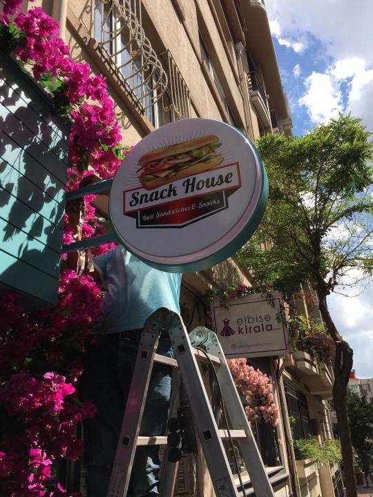 Snack House Isıklı Cıft Taraflı Hazır Tabela
