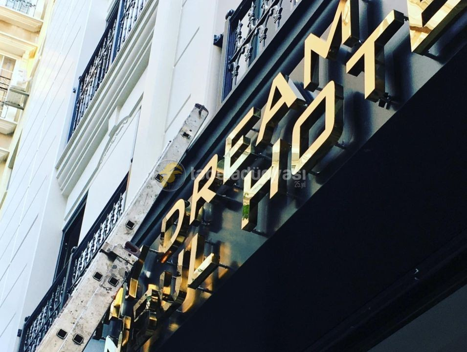 My Dream Hotel Endırek Led Aydınlatmalı Gold Krom Kutu Harf Tabela Imalat