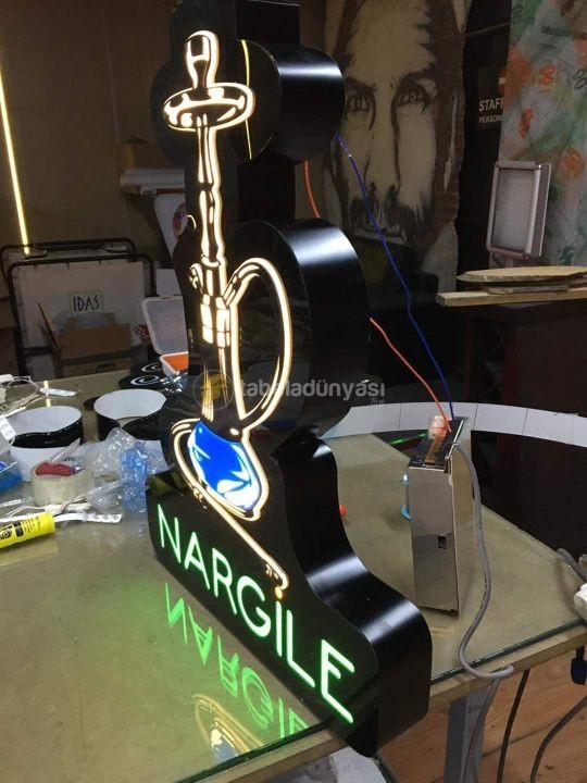 Nargıle Neon Etkılı Isıklı Kutu Harf Tabela Imalatı