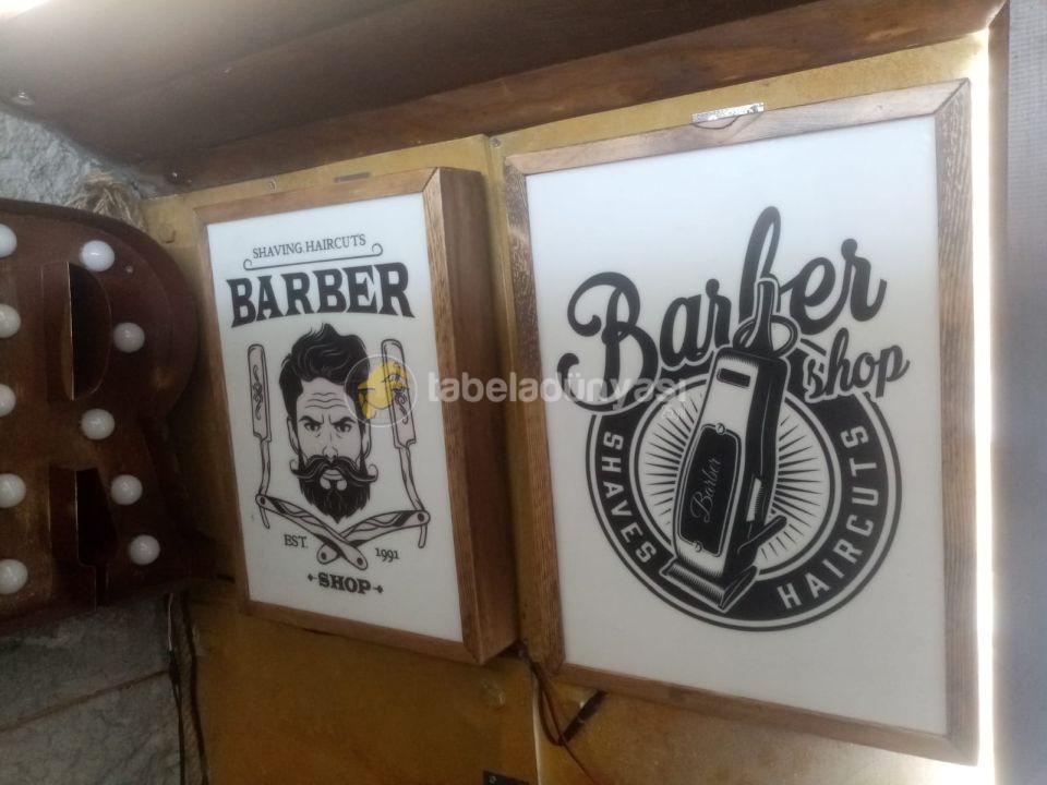 Almanya Berber Shop Ahsap Small Light Box Tabela