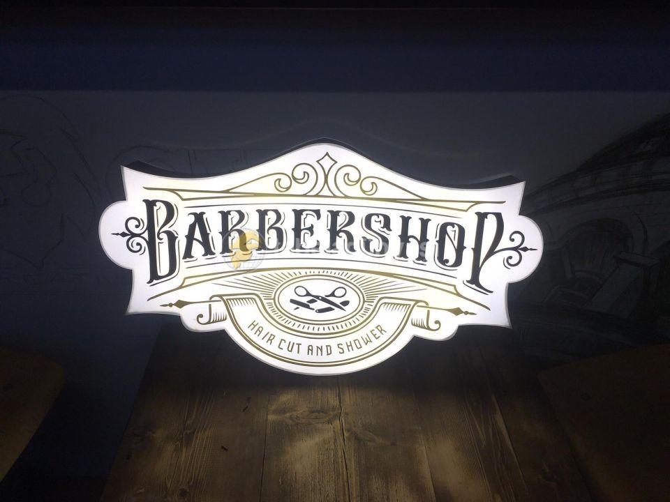Germany Barber Shop Neon Gorunumlu Tabela