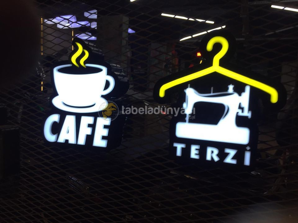 Cafe Ve Terzi 3D Led Tabela (Neon Etkili Tabela)