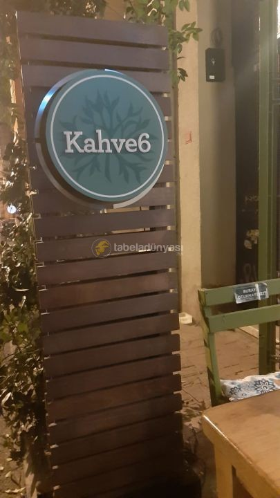 Cafe6 Isıklı Lambri Ahsap Totem Tabela Montaj