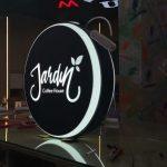 Jardin Coffee Hause cift taraflı Isıklı Hazır Yuvarlak Tabela imalat