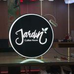 Jardin Coffee Hause cift taraflı Isıklı Hazır yuvarlak Tabela