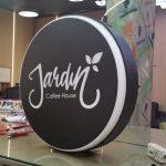 Jardin Coffee Hause cift taraflı Isıklı Hazır yuvarlak Tabela imalatı