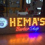 Hemas Barber Shop Almanya Ahsap Zemin Ampul Tabela imalat