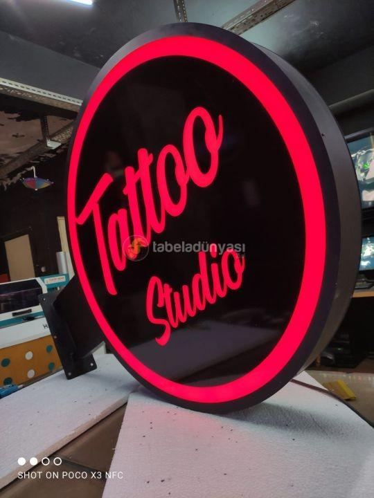 Tattoo Studio hazır ısıklı daire tabela